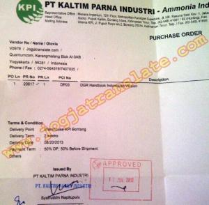 Order terjemahan perusahaan PT Kaltim