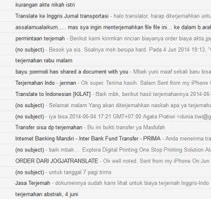 Bukti banyaknya email order setiap hari